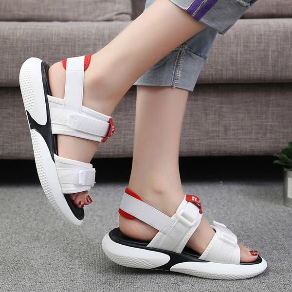 Rubber Thick Bottom Platform Summer Sandals - White
