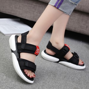 Rubber Thick Bottom Platform Summer Sandals - Black