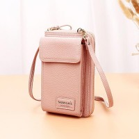 Shoulder Strap Zipper Closure Trendy Casual Wallet - Pink