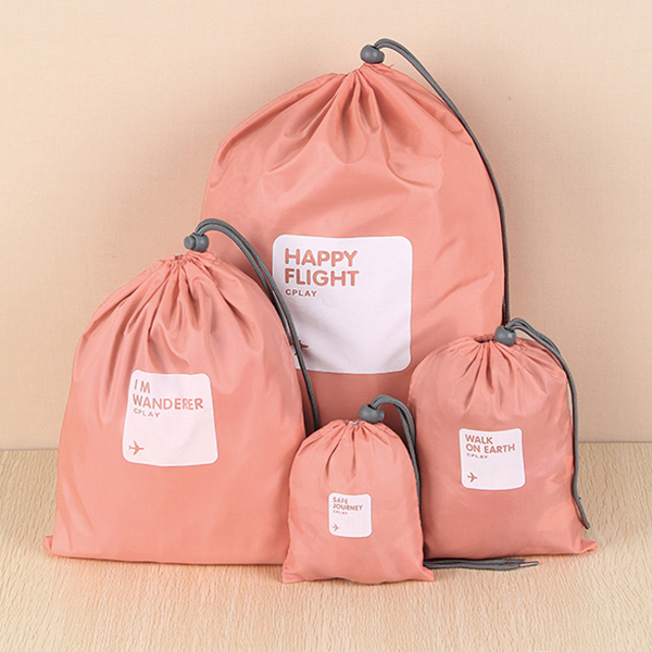 Nylon Drawstring Travelling Pouch Bags - Pink
