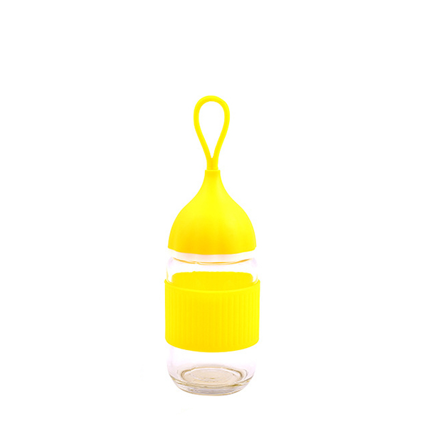 Quality Rubber Grip Glass Cup With Lid - Yellow
