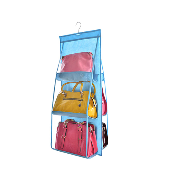 Six Pockets Hanging Purse Organizer - Sky Blue