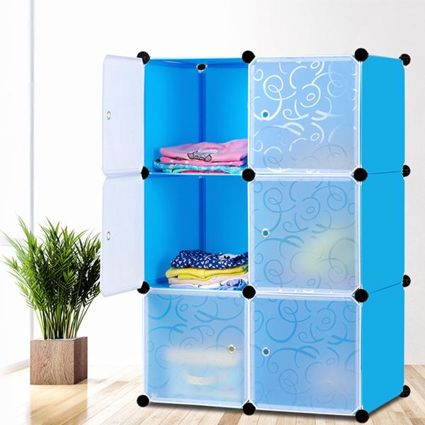 Multi Purpose Six Door Cabinet Wardrobe - Blue