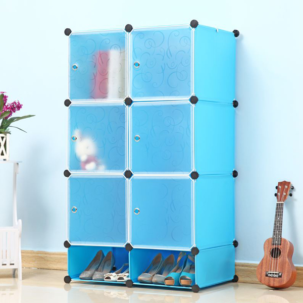 Six Door Cabinet Wardrobe With Shoe Rack - Blue
