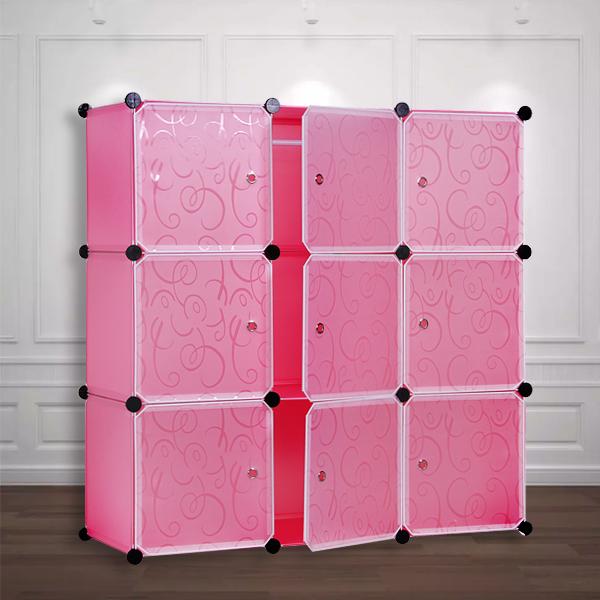 Multi Purpose Nine Door Cabinet Wardrobe - Pink