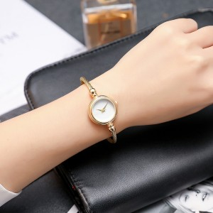 Metal Rope Roman Dial Bracelet Wrist Watch - Golden