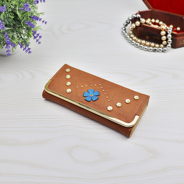 Flower Patched Rivets Decorative Wallet - Brown
