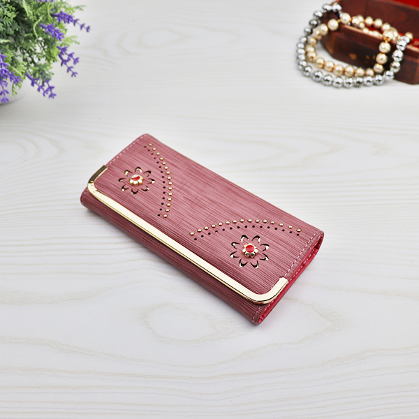 Flower Cut Out Mesh Pattern Money Wallet - Rose Pink