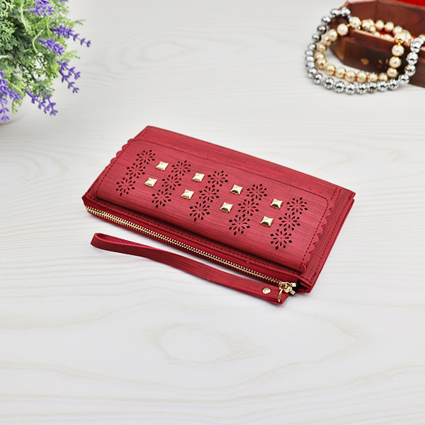 Rivets Square Mesh Pattern Money Wallet - Red