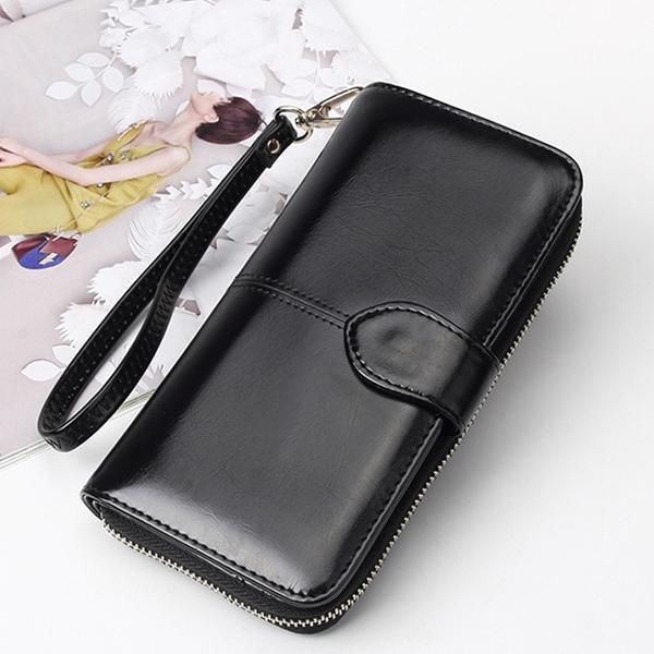 Plain PU Leather Quality Wallet - Black