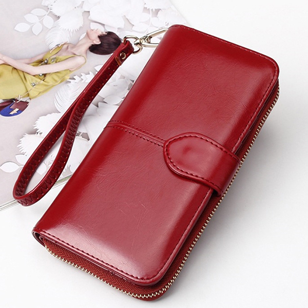 Plain PU Leather Quality Wallet - Burgundy