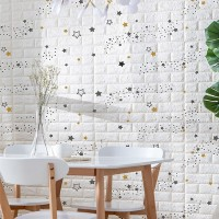 Stars Printed Embossed Bricks Self Adhesive 3D Wall Stickers - White