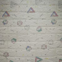 Geometric Prints 3D Bricks Textured Creative Wall Stickers - White