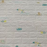 Children Art Prints 3D Bricks Textured Creative Wall Stickers - White