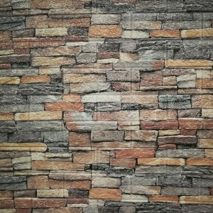 3D Textured Bricks Printed Self Adhesive Wall Stickers - Multicolor