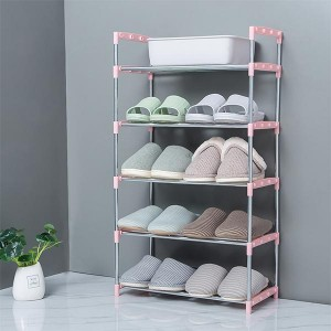 Five Layers Shoe Organizer Multi Purpose Shoes Rack - Pink