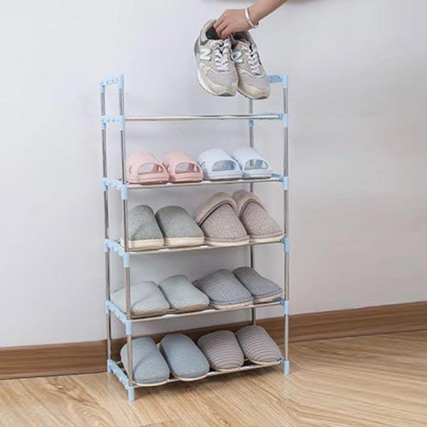 Five Layers Shoe Organizer Multi Purpose Shoes Rack - Blue