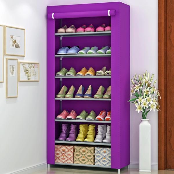 Seven Layered Canvas Shoe Rack - Purple