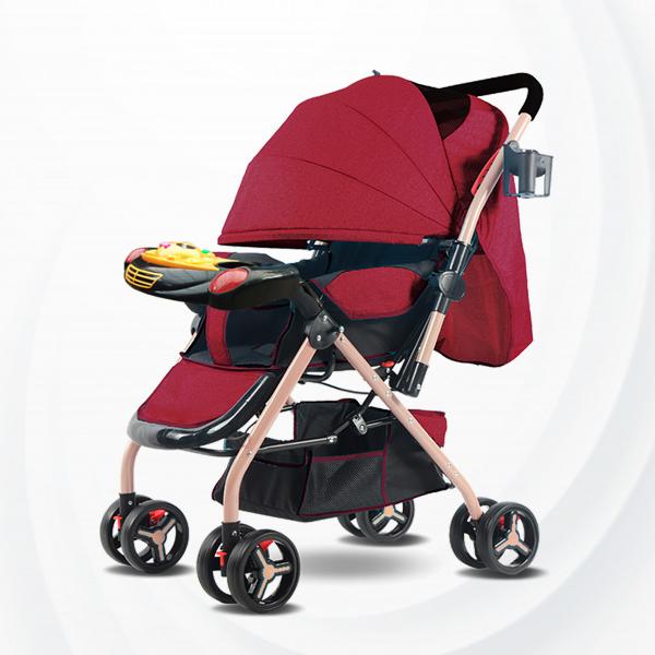 Musical Playable Quality Baby Stroller - Burgundy
