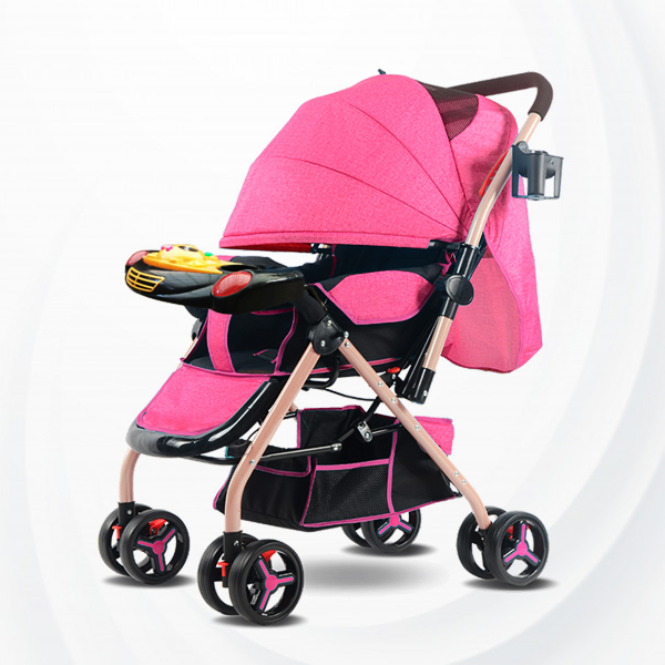 Musical Playable Quality Baby Stroller - Pink