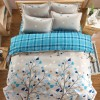 4 Pieces Bed Sheet With Quilt And Pillow Cover - Hearts Tree Print