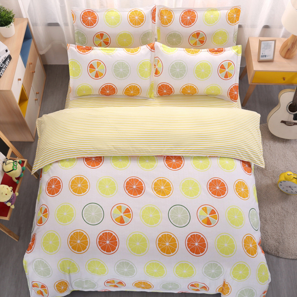 4 Pieces Bed Sheet With Quilt And Pillow Cover - Lime Fruits