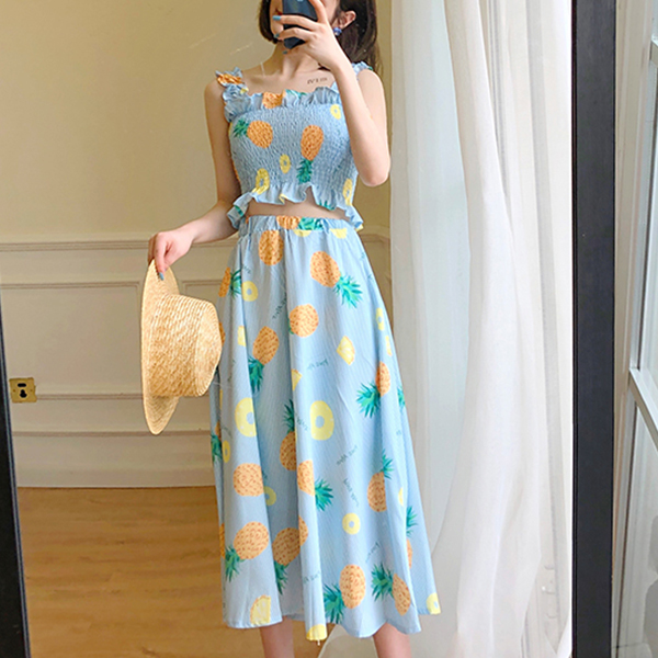 Elastic Bust Printed Two Pieces Midi Dress - Pineapple