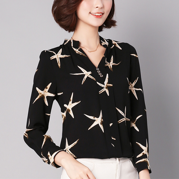 Star Fish Prints Stand Neck Blouse Top - Black