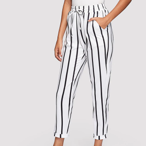 Waist Band Striped Casual Trousers - White