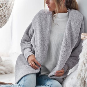 Soft Plush Casual Wear Women Cardigan - Grey