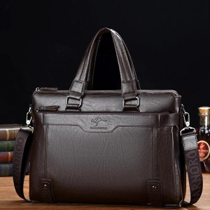 High Quality Pu Leather Shoulder Business Bags - Coffee