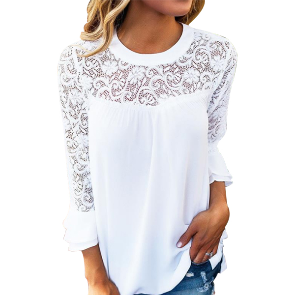 Flounce Sleeves White Floral Lace Top