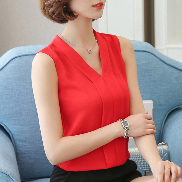 Pleated V Neck Sleeveless Blouse Top - Red