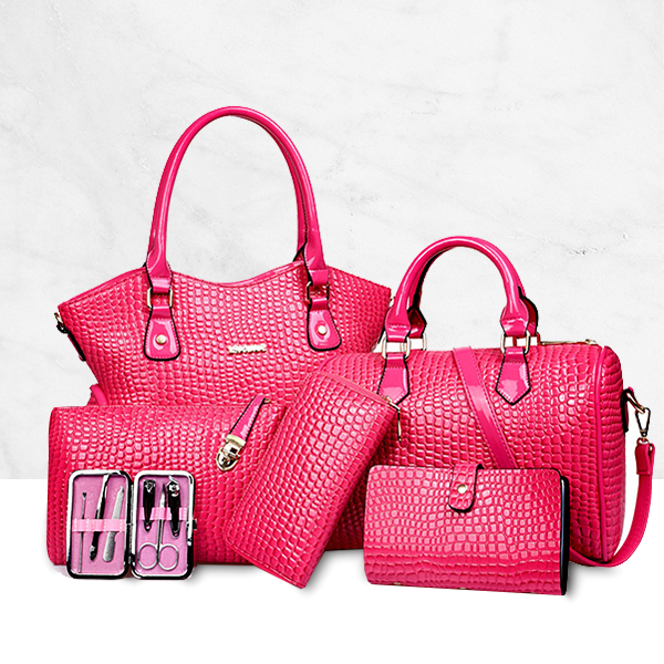 Soft PU Leather Best Selling 6 Pieces Handbag Set Pink