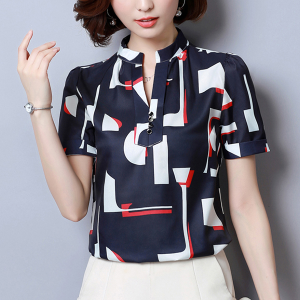 Stand Neck Printed Summer Blouse Top - Dark Blue