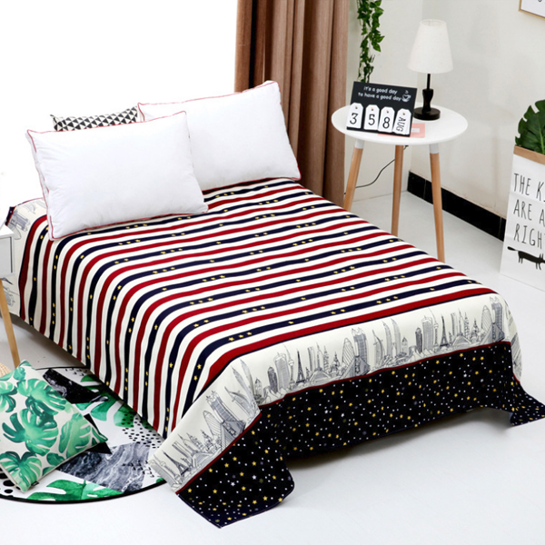Striped Multicolor Prints Cotton Bed Cover Sheet