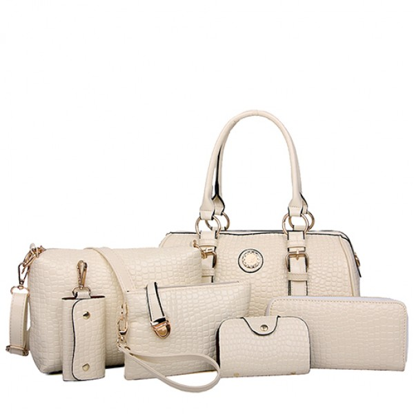 Real Shot Spot Six Sets Of Fashion Handbag White