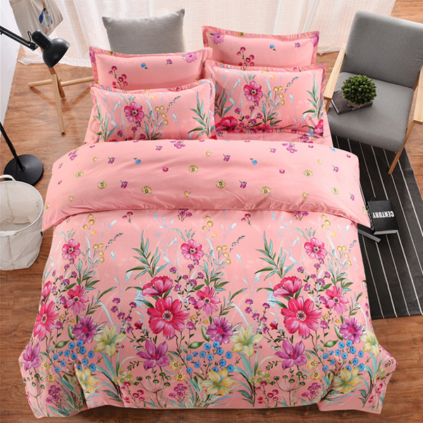 Four Pieces Bed Sheet With Quilt And Pillow Cover