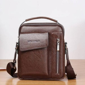 Luxury Pu leather Zipper Business Shoulder Bags - Brown