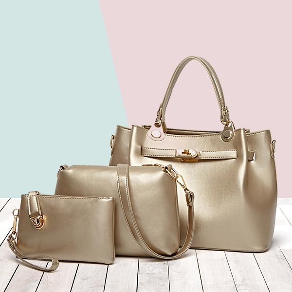 Clever Leather Designer Three Pieces Handbags Set - Golden