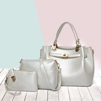 Clever Leather Designer Three Pieces Handbags Set - White