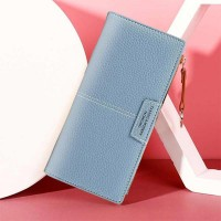 Zipper Closure Foldable Female Casual Wallets - Blue