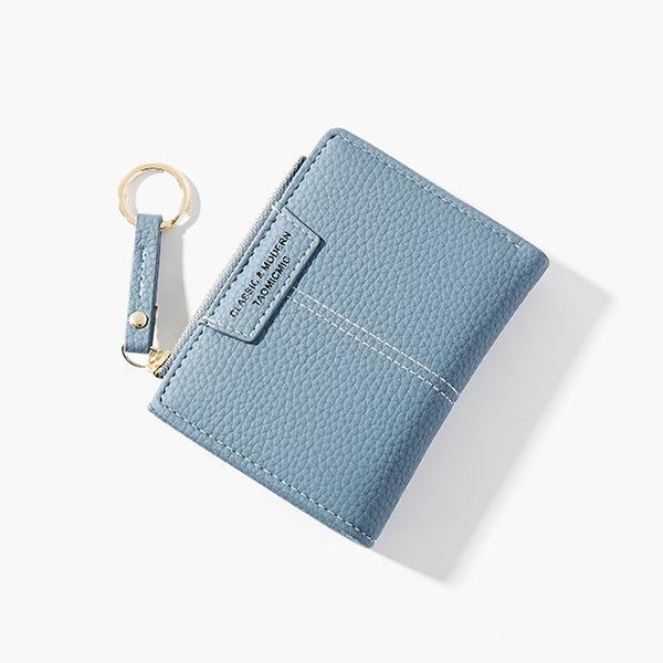 Multi-card Sections Key-chain Handled Clutches - Blue