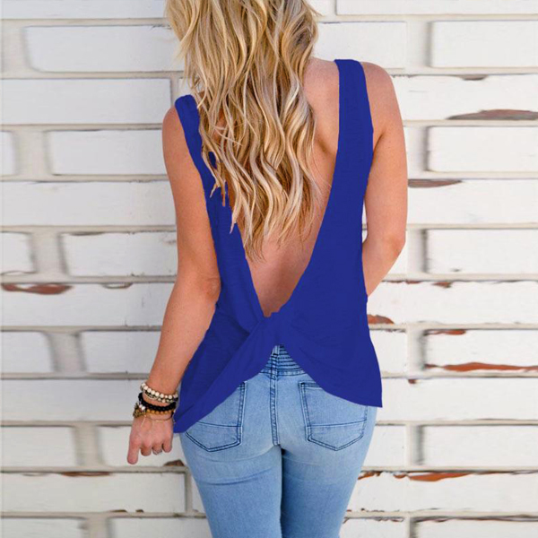 Backless Knotted Round Neck Beach T-Shirt - Blue