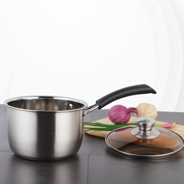 Stainless Steel Glass Lid Cooking Pot - Silver