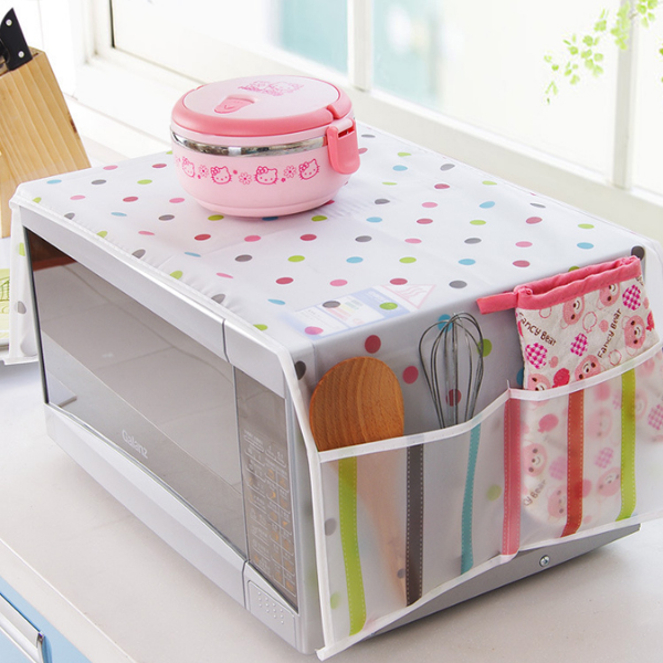 Dust And Oil Proof Printed Microwave Cover - Polka Dots