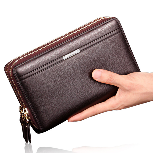 Double Zipper PU Leather Personal Organizer Wallet
