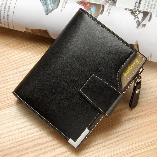 Zipper Titch Button Closure Foldable Wallet - Black