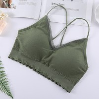 Lace String Shoulder Casual Wear Bra - Green