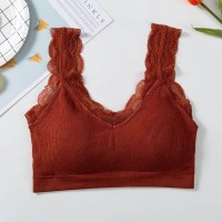 Lace Ribbed Padded Summer Wear Bra - Orange